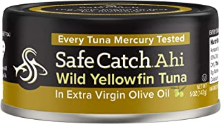 Safe Catch Ahi, Lowest Mercury Solid Wild Yellowfin Tuna Steak, 5 oz Can. The Only Brand to Test Every Tuna for Mercury (6 Pack in Extra Virgin Olive Oil)