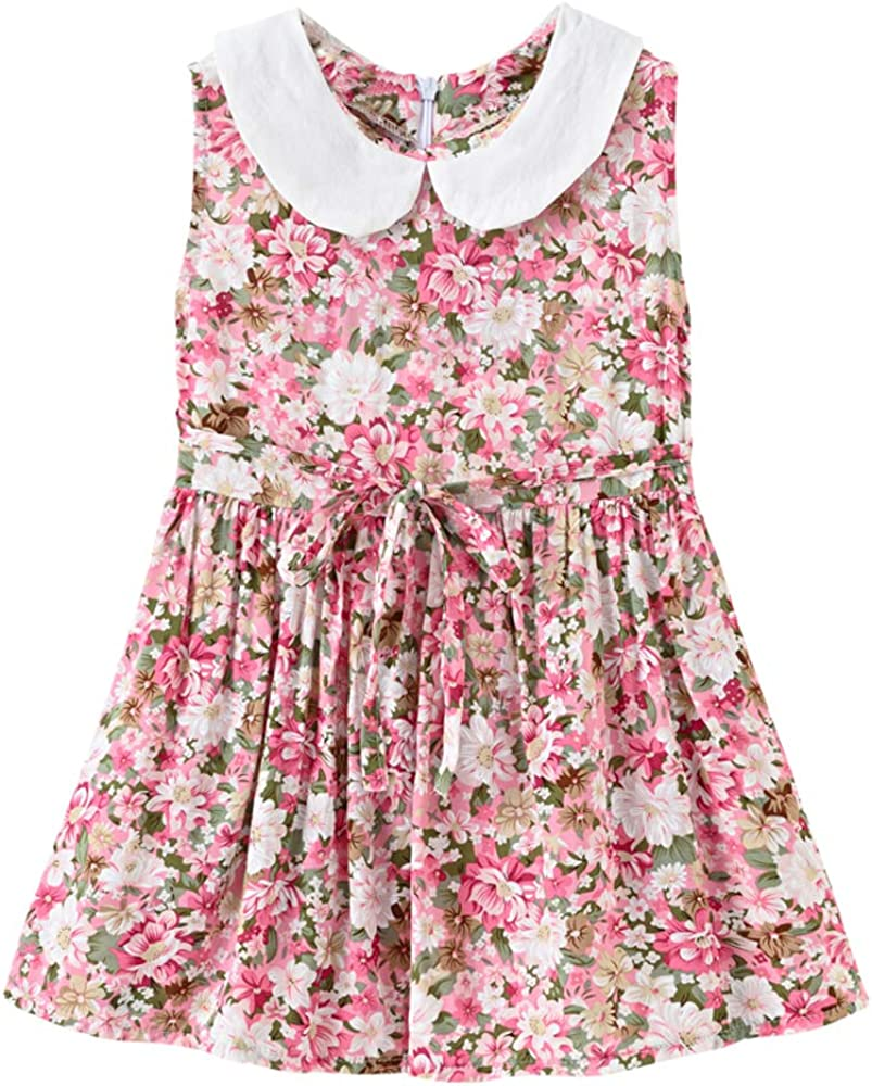 SHOOYING Girl's Floral Sleeveless Swing Dress