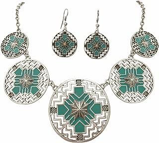 Aztec 5 Disk Cutout Southwestern Look Silver Tone Boutique Style Necklace Earrings Set