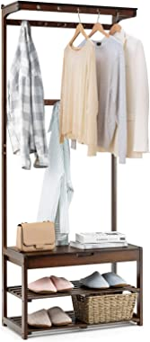 Tangkula 5 in 1 Industrial Hall Tree, Bamboo Coat Rack Shoe Bench with 10 Hanging Hooks and 2-Tier Shoe Shelves, Multifunctio