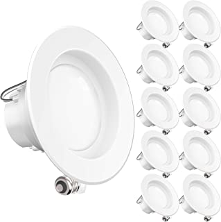 Sunco Lighting 10 Pack 4 Inch LED Recessed Downlight, Smooth Trim, Dimmable, 11W=40W, 4000K Cool White, 660 LM, Damp Rated, Simple Retrofit Installation - UL + Energy Star