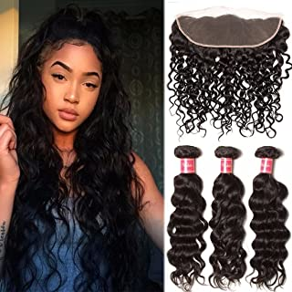 Nadula Grade 8A Brazilian Virgin Hair 3 Bundles Natural Wave Hair with Free Part Lace Frontal Closure Good Quality Virgin Hair Bundle Deals with Lace Frontal (12 14 16+10 Frontal, Natural Color)