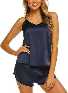Womens Sexy Sleepwear Lingerie Satin Pajamas Cami Shorts Set Nightwear S-XXL Navy Blue