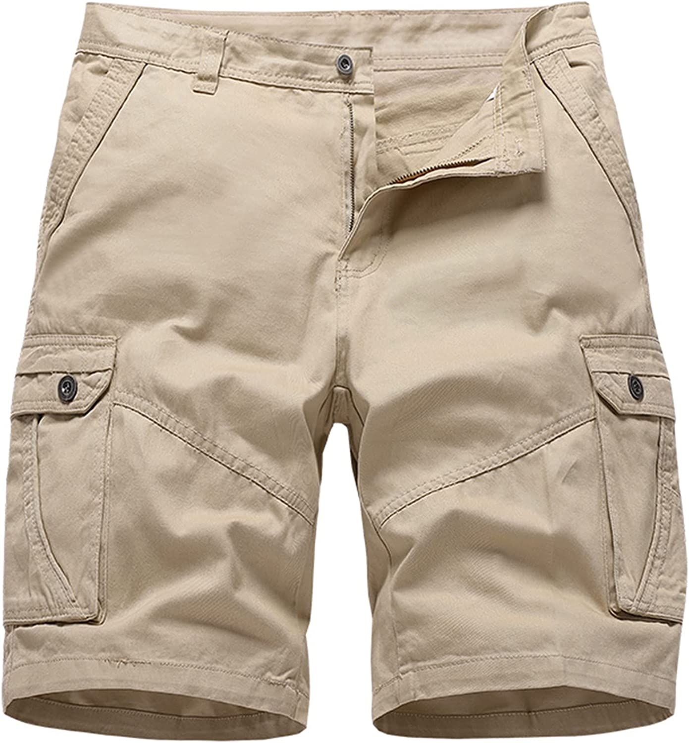 baskuwish Mens Cotton Cargo Shorts Relaxed Fit Multi-Pocket Outdoor Shorts