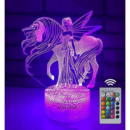 STAY GENT Veilleuse Licorne 3D pour Enfants, 16 Couleurs Changeantes Fille Lampe LED USB Veilleuse Illusion pour Enfants Adultes Cadeau d'anniversaire et de Vacances avec Télécommande, C