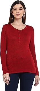 AMERICAN CREW Women's Henley Top, Button T-Shirt
