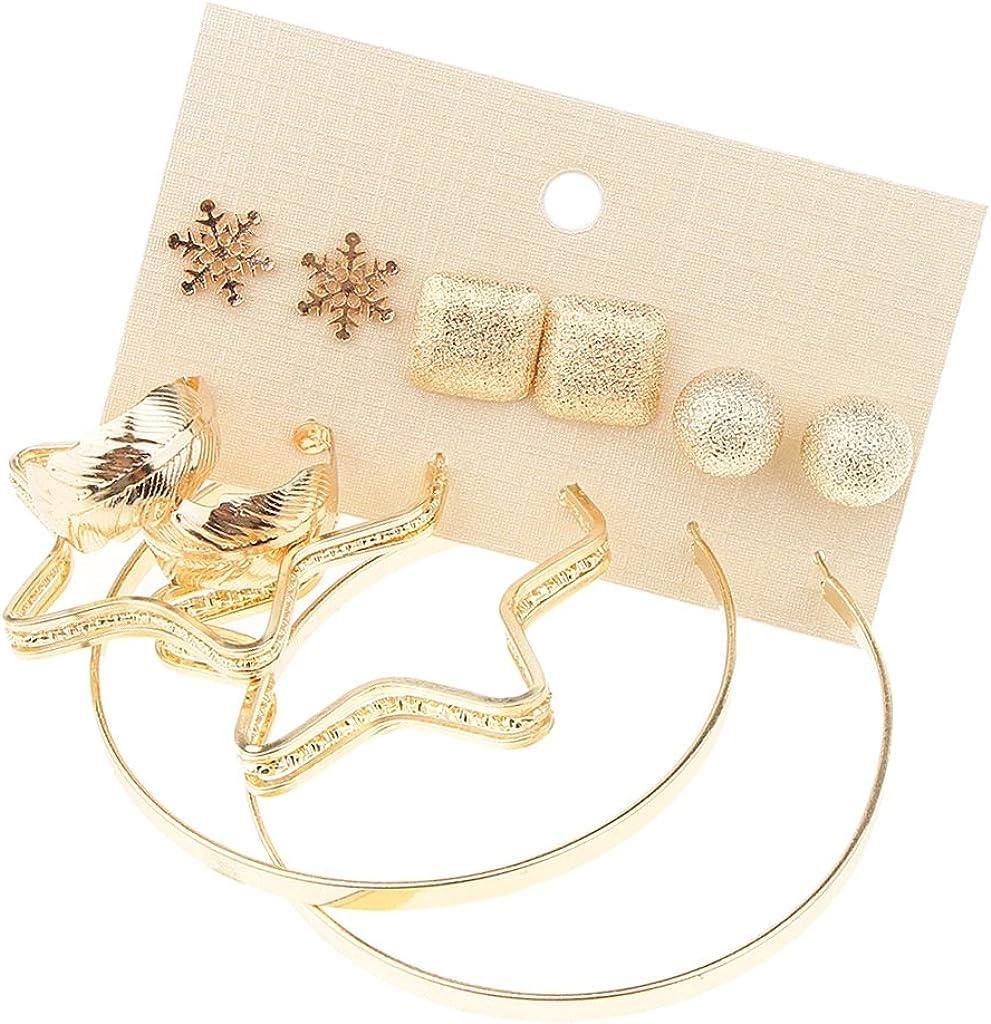Newmind 6 Pairs Statement Boho Leaf Loop Snowflake Matte Ball Geometric Earring