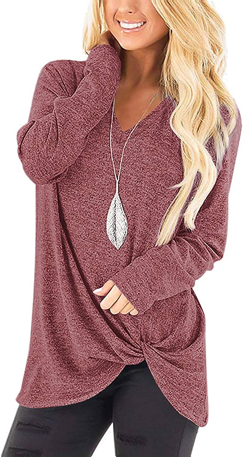 Womens Tops Long Sleeve Shirts V Neck Loose Fit Twist Knotted Fall Tunic Blouses