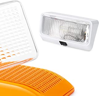 Lumitronics RV 12V Exterior Porch Light with On/Off Switch - Removable Clear & Amber Lenses (White)