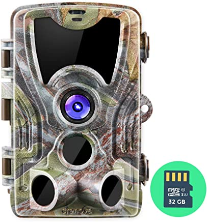 Crenova 16MP 1080P HD Trail Camera with 32GB Micro Card...