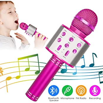 KIDWILL Wireless Bluetooth Karaoke Microphone, 5-in-1 Portable Handheld Karaoke Mic Speaker Player Recorder with Adjustable Remix FM Radio for Kids Adults Birthday Party KTV Christmas (Rose Red)