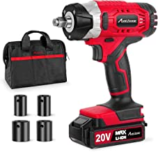 """20V MAX Cordless Impact Wrench with 1/2"""" Chuck, Max Torque 230N.m, 4Pcs Driver Impact Sockets, Tool Bag and 1.5A Li-ion Battery, Avid Power MCIW326"""