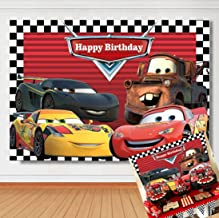 TJ Cartoon Cars Mobilization Theme Photo Backdrops Racing Story Route 66 Car Photography Background Red Car Flag Boy Kids Birthday Party Decoration Banner Studio Booth Props 7x5ft Vinyl