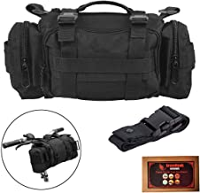 Bike Handlebar Bag, BraveHawkOutdoors 900D Nylon Oxford Multi-purpose Tactical Waist Heavy-duty Water Resistant MOLLE Outdoor Bicycle Pack for Cycling Hiking (Black)