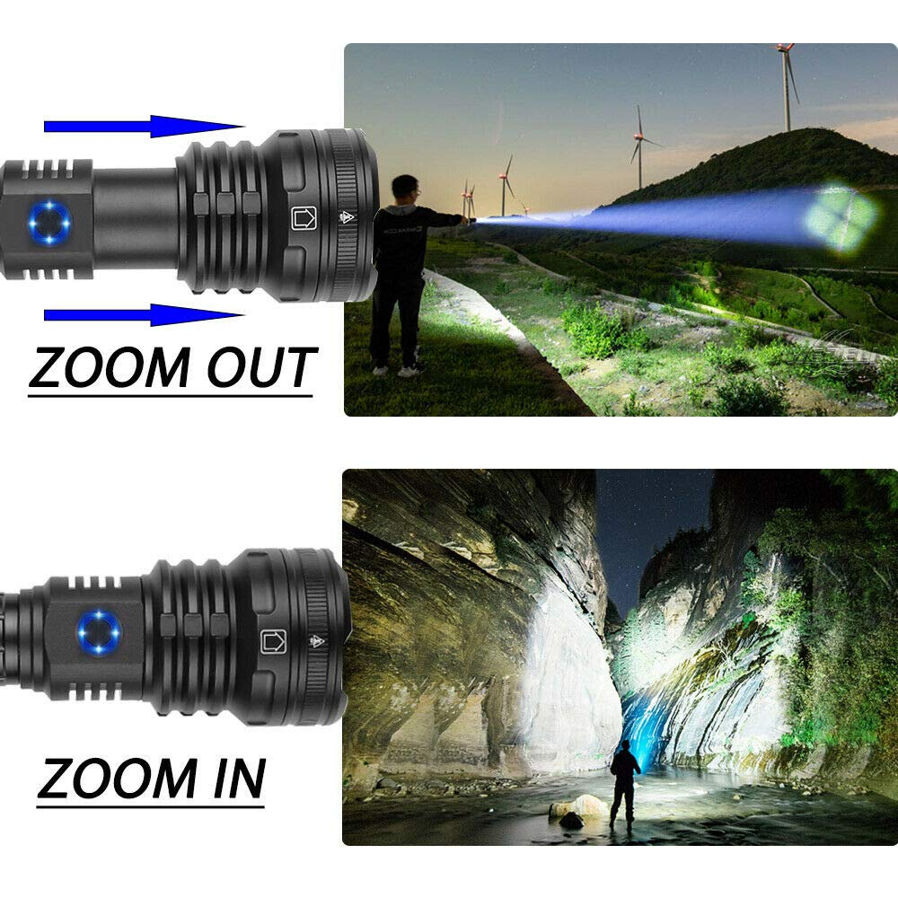 Garberiel Rechargeable LEDTactical XHP90 Flashlight 9000 lumens Super Bright 5 Modes Zoomable Camping Hiking Portable Outdoor Torch Light with USB Cable and Batteries