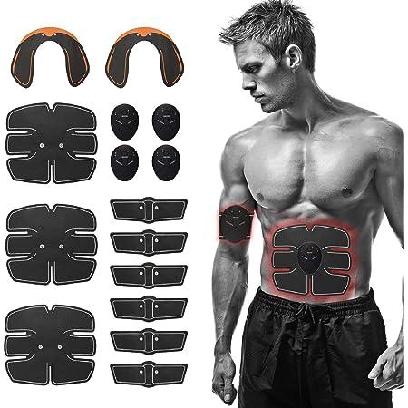 Festnight Elettrostimolatore per Addominali/Glutei, Stimolatore Muscolare 15PCS EMS per Addominale/Gamba/Braccio, Cintura Elettrostimolatore per Uomo Donna da Allenamento Fitness Full Body