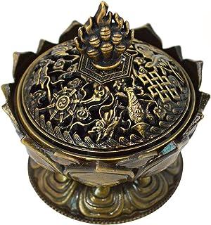 Buddha Lotus Flower Incense Burner Alloy Metal Incense Holder Censer Creative (Bronze)