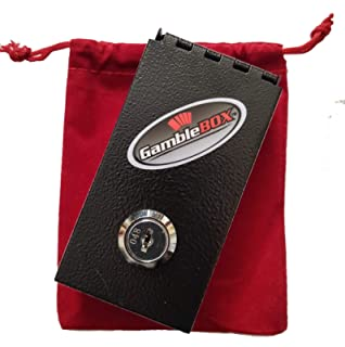 Gamblebox Gambling Personal Pocket Cash Drop Lock Box Safe Wallet With Red Velvet Carrying Bag
