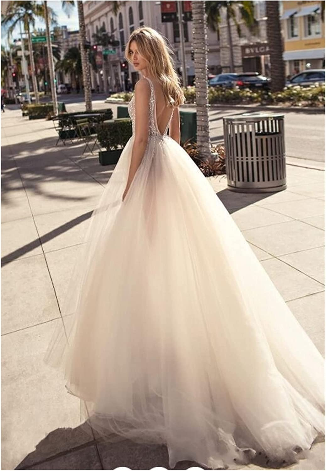 TDIDOJQ Charming Tulle Evening Gown Backless V-Neck High Split Prom Party Gowns Custom Made Special Occasion Dresses (Color : A, US Size : 14W)