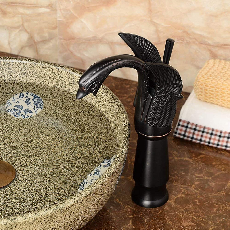 GONGFF Wasserhahn Europische Schwarze Bronze über Aufsatzbecken Wasserhahn Retro Swan Wasserhahn Bad Becken heien und kalten Wasserhahn