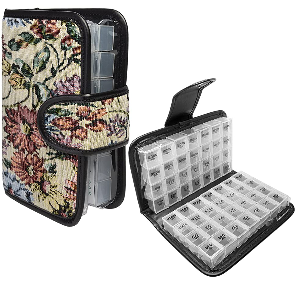 Simply Genius Floral 14 Day Daily Pill Organizer, Portable Locking Travel Case Doses Dispenser, AM/PM, Day & Night, Weekly Pill Box Organizer Case