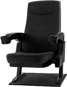 Stagecaptain CS-600BK Movieking Kinosessel (Relaxsessel, klappbarer Sitz, 2 x Armlehne mit Getränkehalter, Bodenplatte) schwarz
