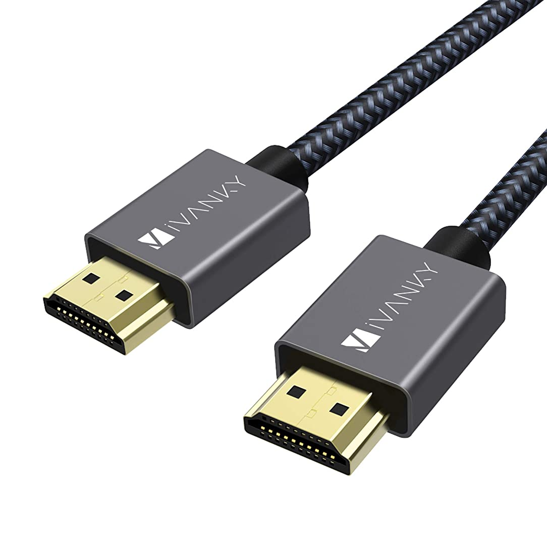 High Speed HDMI Cable, 4K HDMI Cable iVanky 6.6 ft HDMI 2.0 Cable 18Gbps, 4K HDR, 3D, 2160P, 1080P, Ethernet - Braided HDMI Cord 30AWG, Audio Return(ARC) Compatible UHD TV, Blu-ray, Xbox, PS4, PS3, PC