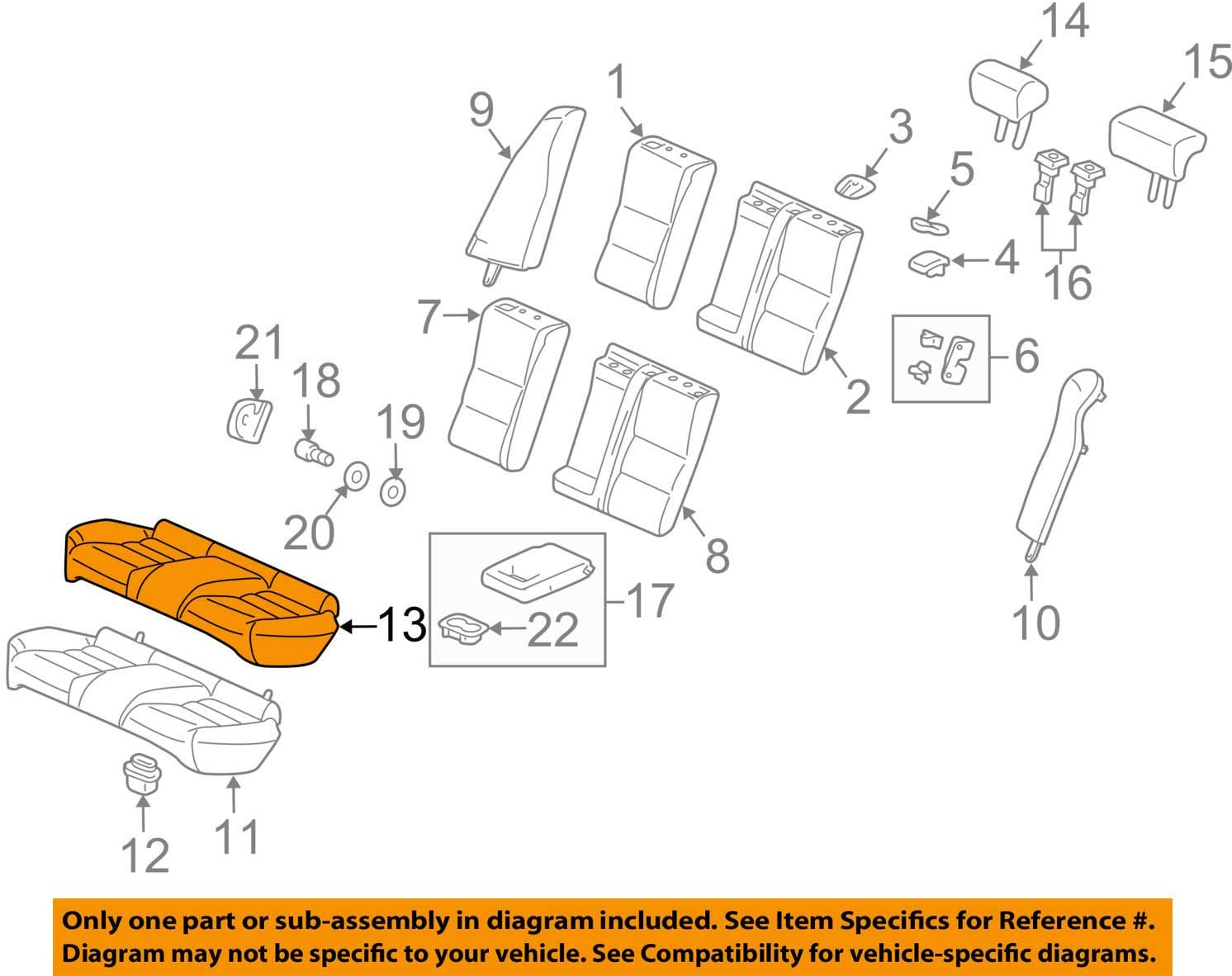Honda Genuine 82131-TP6-A01ZB Outstanding Seat Cover Rear Trim Cushion depot