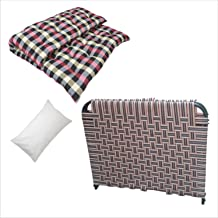 6/3 Feet Single Folding/Portable Bed Tool-Free Assembled with Storage - Random Color with Soft Cotton Filled Mattress | Ga...