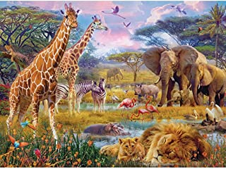 Bits and Pieces - 300 Large Piece Jigsaw Puzzle for Adults - Savannah Animals - 300 pc Jungle Scene Jigsaw by Artist Jan P...