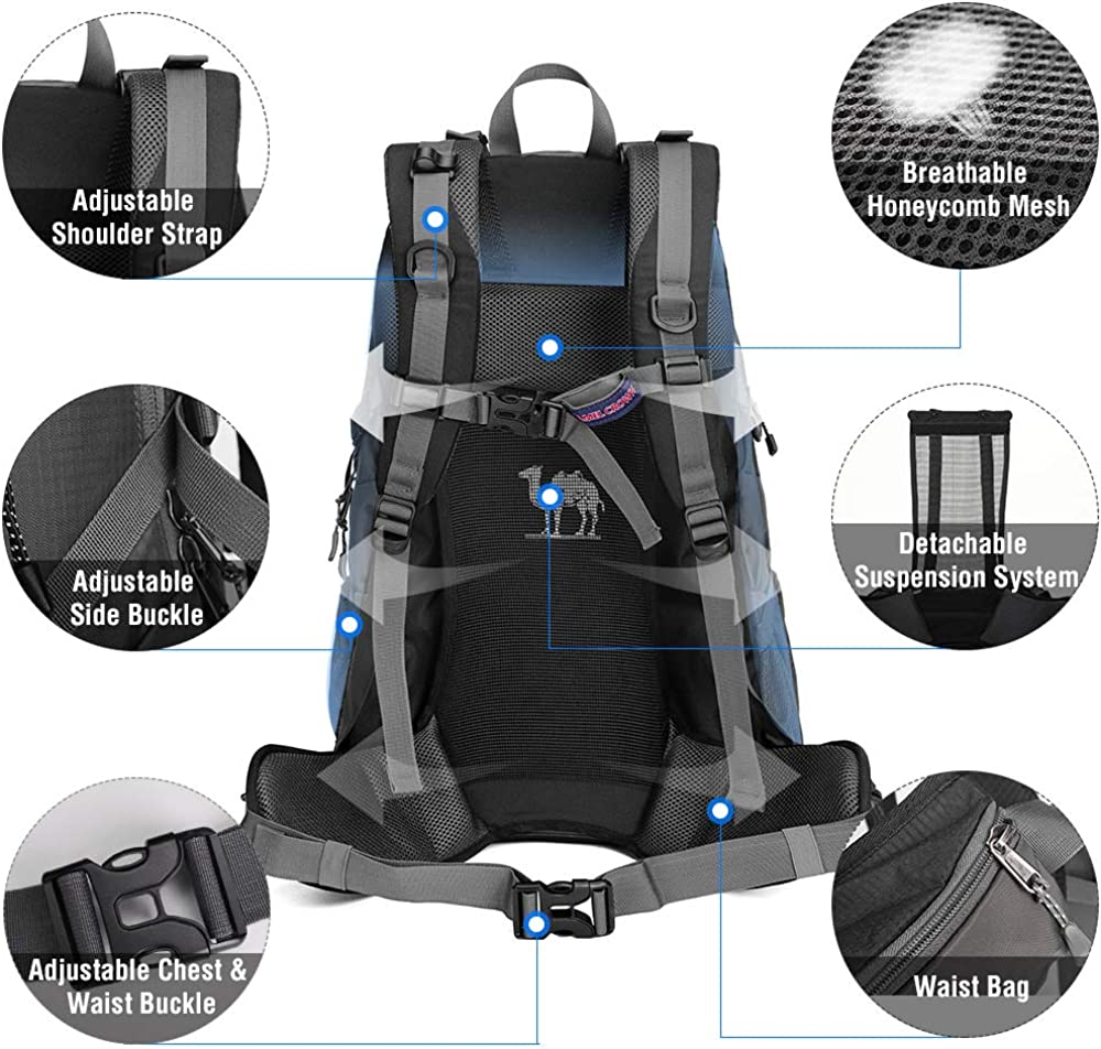 CAMEL CROWN 30L//40L Waterproof Hiking Backpack Travel Daypack Backpacks Trekking