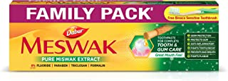 Dabur Meswak: India's No-1 Fluoride Free Toothpaste | Herbal paste made from pure extract of rare Miswak herb -300 gm (Fam...