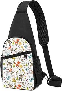 Lindo bolso de hombro con patrón de criaturas del bosque, mochila ligera para el pecho, bolsa cruzada, bolsas de viaje, se...