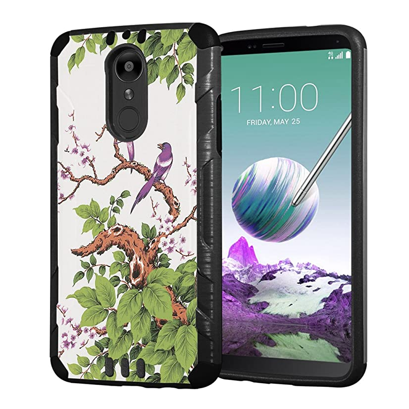 Moriko Case Compatible with LG Stylo 4 Plus, LG Stylo 4, LG Q Stylus [Armor Layer Drop Protection Slim Fashion Shockproof Black Case] for LG Stylo 4 - (Birds on Trees)