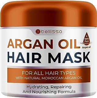 Bellisso Moroccan Máscara para el cabello Aceite de Argán - Tratamiento acondicionador hidratante profundo para cabello seco dañado - Producto hidratante, hidratante de extremo dividido