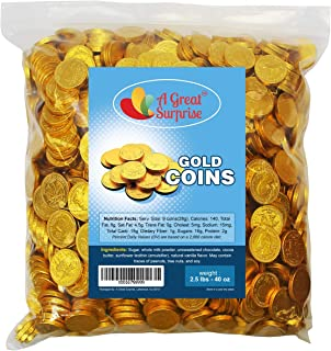 Chocolate Gold Coins - Chocolate Coins - Gold Candy - Milk Chocolate 2.5 LB Bulk Candy