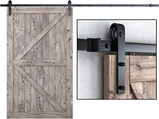 SMARTSTANDARD 10FT Heavy Duty Sturdy Sliding Barn Door Hardware Kit, 10' Double Track Rail, Super Smoothly and Quietly, Simple and Easy to Install, Fit 60