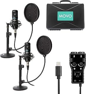 کیت بسته ضبط پادکست تلفن هوشمند Movo با 2 میکروفون خازنی ، 2 پایه میکروفن دسکتاپ ، 2 فیلتر پاپ ، رابط XLR 2 کاناله با خروجی رعد و برق سازگار با iPhone ، iPad ، iOS