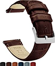 BARTON Watch Bands - Alligator Grain Leather - Quick Release Leather Watch Bands - Choose Color, Length & Width - 16mm, 18mm, 19mm, 20mm, 21mm, 22mm, 23mm, or 24mm Standard or Long