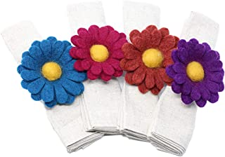 Global Groove Gerber Daisy Napkin Rings - Set of Four Colors (T)