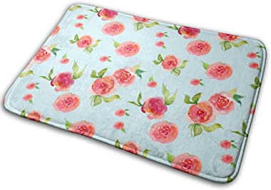 Red Roses Light Floral Print Carpet Non-Slip Welcome Front Doormat Entryway Carpet Washable Outdoor Indoor Mat Room Rug 15.7