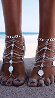 Wiji Tassel Chain Anklet Coin Ankle Foot Jewellery Single Barefoot Sandal Gold Silver