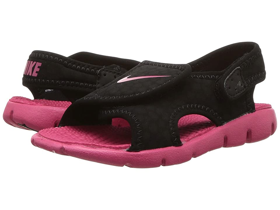 Nike Kids Sunray Adjust 4 (Infant/Toddler) (Black/Rush Pink) Girls Shoes