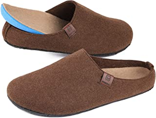 VeraCosy Men's Fuzzy Faux Wool Felt Slippers Indoor Outdoor Slip-on House Shoes with Anti Skid Rubber Sole
