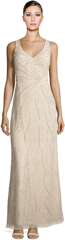 Aidan Mattox Womens Beaded Illusion Evening Dress