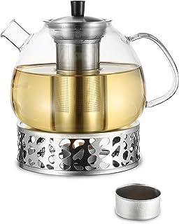 Cosumy 1500 ml szklany dzbanek do herbaty z podgrzewaczem, zestaw w pudełku prezentowym – wkład sitowy ze stali nierdzewne...