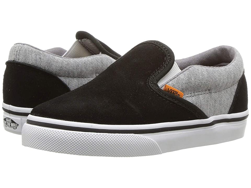 Vans Kids Classic Slip-On (Infant/Toddler) ((Suede & Jersey) Gray/Black) Boys Shoes