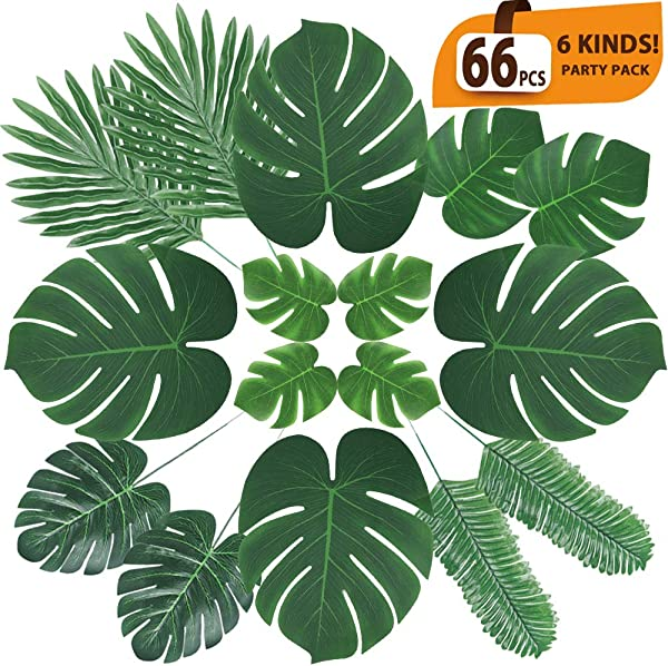 ElaDeco 66 Pcs Artificial Tropical Palm Leaves Monstera Leaves With Stems For Safari Decorations Tropical Party Supplies Jungle Beach Luau Theme Party Decorations 6 Kinds