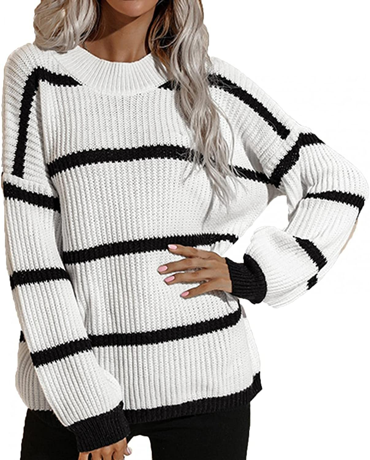 VEKDONE Women Oversized Round Neck Striped Color Block Loose Knitted Pullover Sweater Comfy Casual Long Sleeve Jumper Top