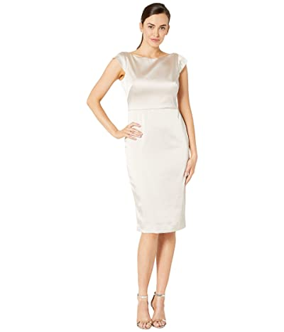 Maggy London Stretch Satin Sheath Dress with Bow Back Detail (Champagne) Women